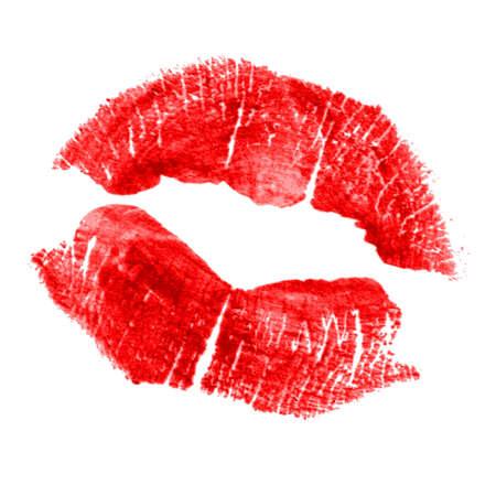 Impression parfaite de rouge à lèvres. Silhouette des lèvres rouges isolé sur fond blanc. trace qualitative de réelle rouge à lèvres texture. Peut être utilisé comme un élément décoratif pour l'impression ou la conception. Banque d'images - 46226701