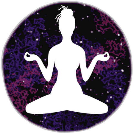 Illustration of meditation in lotus position of yoga. White silhouette of woman with dreadlocks isolated on a colorful round background of universe.