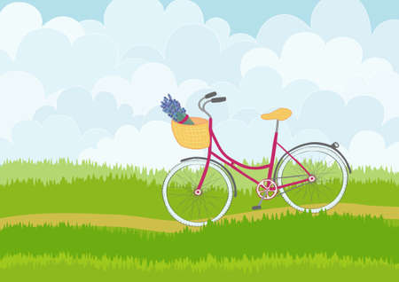 eco flowers basket: Beautiful simple cartoon meadow with pink city bike on sky background. Can be used as backdrop or print.