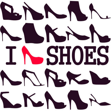 ladies shoes: Poster I love shoes Illustration
