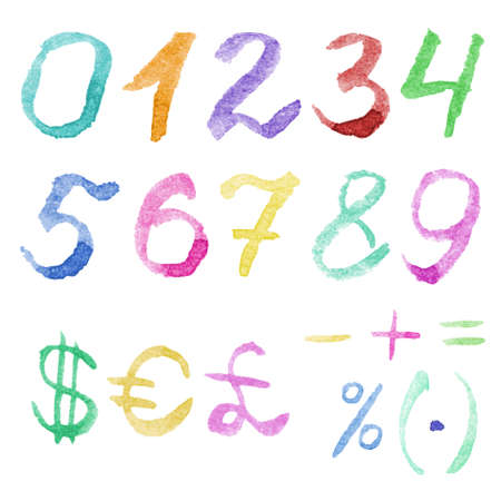 numero: Hand drawn watercolor numbers. Handwritten multicolor font isolated on white background. Contains numbers 0,1,2,3,4,5,6,7,8,9, currency symbols and mathematical signs. Real watercolor texture.