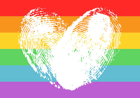 Poster with LGBT support symbol. White fingerprints heart isolated on rainbow background. Typography design element for posters, banners and prints. Vettoriali