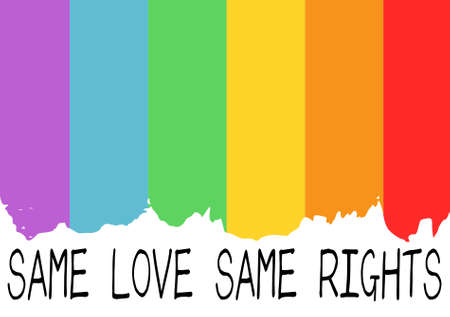 social movement: Poster with LGBT support phrase. Rainbow flag as a background and black text Same love, same rights. Illustration