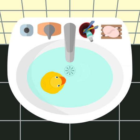 pato caricatura: Ilustración vectorial de dibujos animados. Vista superior de un lavabo en un cuarto de baño con el pato amarillo de goma y los principales accesorios para el baño: jabón, cepillos de dientes, pasta de dientes, crema. Baldosas amarillas en las paredes y negro sobre un suelo como fondo.