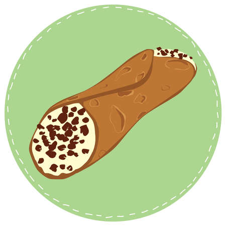 Perfect hand drawn illustration of typical sicilian dessert cannoli. Can be used as print or poster. 일러스트
