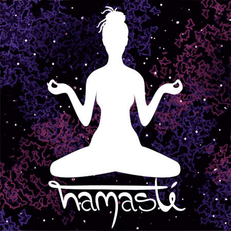 Illustration of meditation in lotus position of yoga. White silhouette of woman with dreadlocks isolated on a colorful universe background and hand drawn lettering Namaste. Illustration