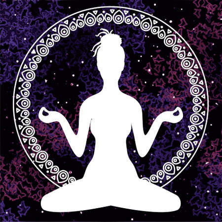 meditation lotus: Illustration of meditation in lotus position of yoga. White silhouette of woman with dreadlocks isolated on a colorful universe background in a decorative circular ornament