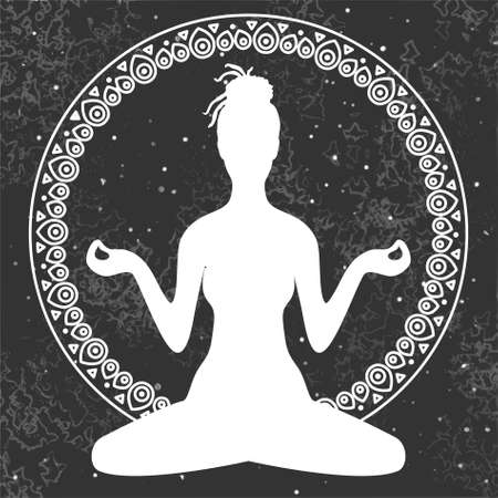 dreadlocks: Illustration of meditation in lotus position of yoga. White silhouette of woman with dreadlocks isolated on grey universe background in a decorative circular ornament