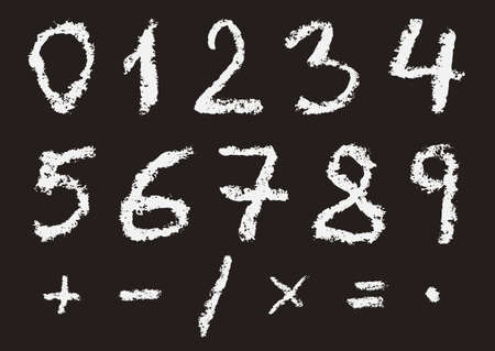 subtraction: Hand written chalk numbers 0, 1, 2, 3, 4, 5, 6, 7, 8, 9 and most important mathematical signs and symbols on black background. Real chalk texture. Illustration