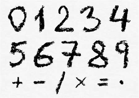 0 to 5: Hand written vector charcoal numbers 0, 1, 2, 3, 4, 5, 6, 7, 8, 9 and most important mathematical signs and symbols on white watercolor paper as background. Real charcoal texture. Illustration
