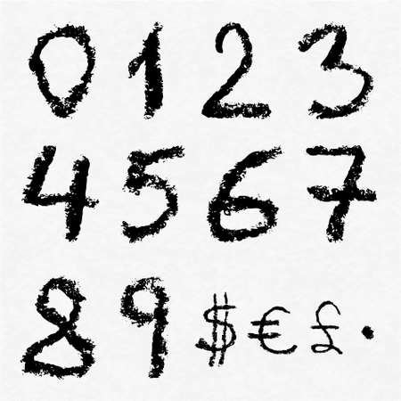0 to 5: Hand written vector charcoal numbers 0, 1, 2, 3, 4, 5, 6, 7, 8, 9 and currency signs: dollar, euro and pound sterling on white watercolor paper as background. Real charcoal texture.