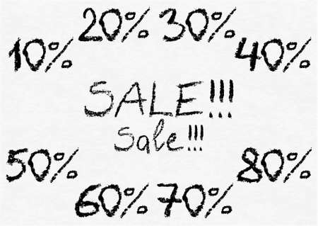 numero: Hand written vector charcoal numbers 10, 20, 30, 40, 50, 60, 70, 80 with percent sign for sale sticker or label on white watercolor paper as background. Real charcoal texture. Illustration
