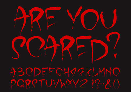 hand in hand: Bloody alphabet set. Uppercase dark red stylized hand drawn letters and most important punctuation marks isolated on a black background. Ideal font for a halloween party posters and invitations.