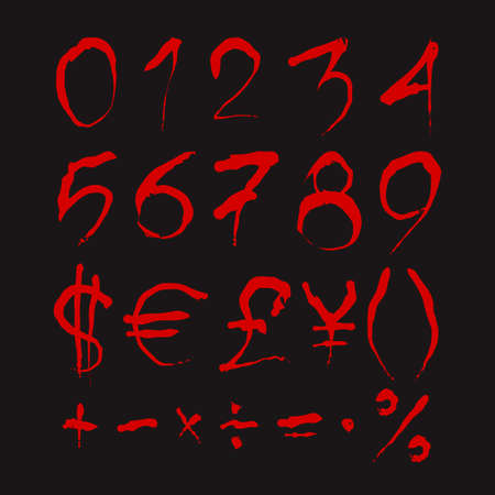 euro sign: Set of Bloody numbers. Dark red stylized hand drawn numbers and most important mathematical signs isolated on a black background. Ideal font for a halloween party posters and invitations. Illustration