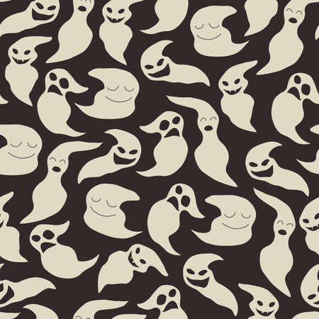 ghost: Seamless pattern with cute white cartoon ghosts on a black background. For use as a halloween decoration.
