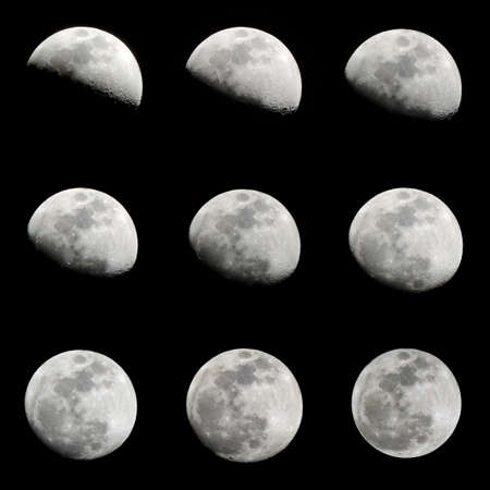 lunar month: Set of moon phases which in detail shows the period of the second quarter of lunar month. Silhouette of 9 crescent moon isolated on black background. From 8 to 16 lunar days of lunar calendar.