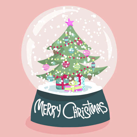 snow and trees: Colorful Christmas poster with cute cartoon snow globe with fir-tree on green stand. Bright festive illustration and text Merry Christmas on a light-pink backdrop.