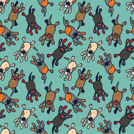 doggies: Bright seamless pattern with cute cartoon colorful dogs on a green background. Beautiful illustration with funny doggies for use as a backdrop or as a print for fabric or wrapping.
