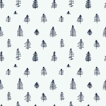 patrones de costura de dibujos animados simples lindo con árboles dibujados a mano sobre fondo blanco. ilustración plana para su uso como un telón de fondo o como una impresión de tela o de envoltura. Ilustración de vector