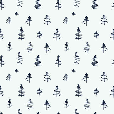 Simple cartoon seamless patterns with cute hand drawn trees on white background. Flat illustration for use as a backdrop or as a print for fabric or wrapping. Illustration
