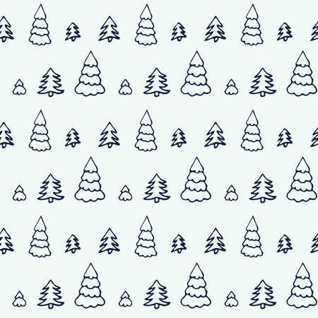 Simple cartoon seamless patterns with cute hand drawn trees on white background. Flat illustration for use as a backdrop or as a print for fabric or wrapping. Vettoriali