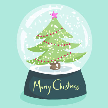 Colorful Christmas poster with cute cartoon snow globe with fir tree on green stand. Bright festive illustration and text Merry Christmas on a light blue background.
