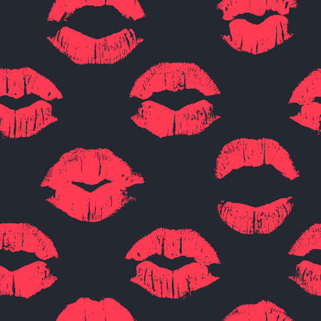 affairs: Seamless pattern with lipstick kisses. Imprints of lipstick of red shades isolated on a black background. Can be used for design of fabric print, wrapping paper or romantic greeting card