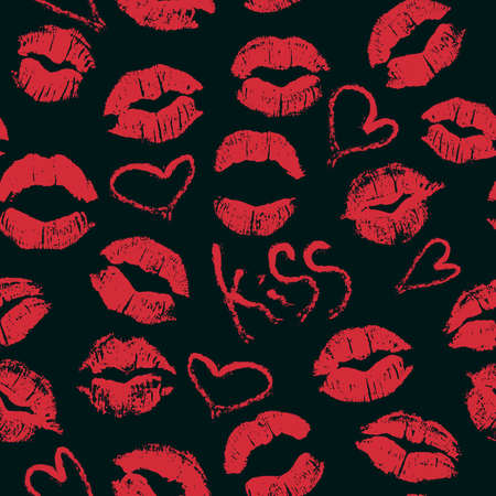 the lipstick: Seamless pattern with lipstick kisses. Imprints of red lipstick, hearts and word kiss isolated on a black background. Can be used for design of fabric print, wrapping paper or romantic greeting card Illustration