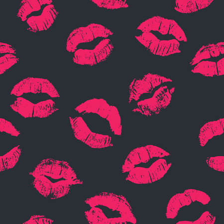 girl in love: Seamless pattern with lipstick kisses. Imprints of lipstick of bright pink shades isolated on a black background. Can be used for design of fabric print, wrapping paper or romantic greeting card Illustration