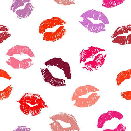 Seamless pattern con baci del rossetto. Impronte di rossetto di tonalità di rosso e rosa isolato su uno sfondo bianco. Può essere utilizzato per la progettazione di stampa tessuto, carta da imballaggio o biglietto di auguri romantico