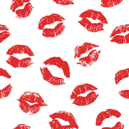 Seamless pattern with lipstick kisses. Imprints of lipstick of bright red shades isolated on a white background. Can be used for design of fabric print, wrapping paper or romantic greeting card