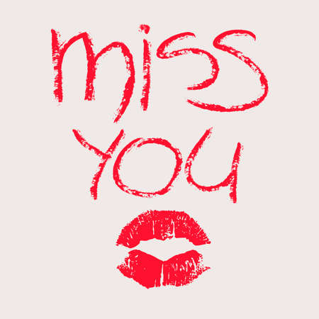 red lipstick: Conceptual illustration with imprint of red lipstick. Phrase miss you written by red lipstick and lips print isolated on a white background