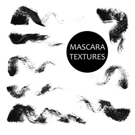 Zestaw 8 artystycznych mascara czarnych uderzeń. Ślad jakościowy prawdziwej tuszu do rzęs. Różne czarne wiruje na białym tle. Ilustracje wektorowe