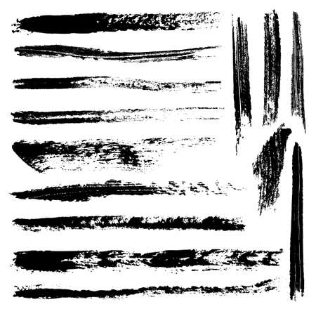 stroke: Set of 14 artistic mascara brush strokes. Qualitative trace of real mascara texture. Different black lines isolated on a white background.