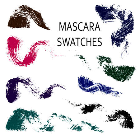 Set of 8 flat mascara swatches. Brush strokes of different shades of real mascara. Colorful swirls isolated on white background. Vettoriali