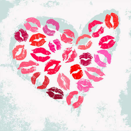smooch: Romantic poster with decorative heart. Hand drawn heart shape with colorful lipstick kisses on a grungy shabby light green background. Illustration