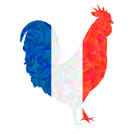 Polygonal gallic rooster in french flag colors. Silhouette of symbol of France le Coq Gaulois in tricolor. Triangle low polygon style. Fully editable colorful image for use as a poster or logo.