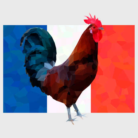 Illustration of polygonal gallic rooster on a french flag background. Symbol of France le Coq Gaulois on triangle low polygon tricolor. Fully editable colorful image for use as a poster or emblem.