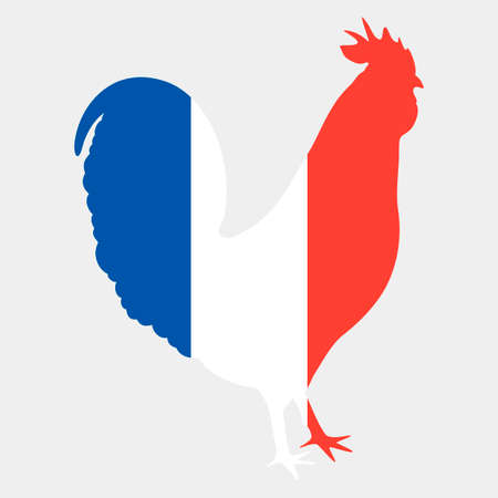 Illustration of gallic rooster in french flag colors. Silhouette of symbol of France le Coq Gaulois in tricolor isolated on a light grey background. Fully editable image for use as a poster or logo.