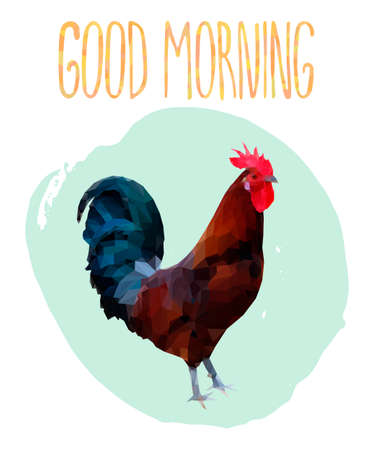 morning  cock: Poster with polygonal rooster and lettering. Colorful cock triangle low polygon style. Brown rooster with red head and blue green tail on light green circle background and hand drawn text Good Morning