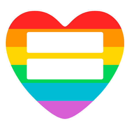Conceptual poster with LGBT support symbol. Rainbow flat heart with equal sign isolated on white background. Typography design element for posters, banners and prints devoted on LGBT theme.