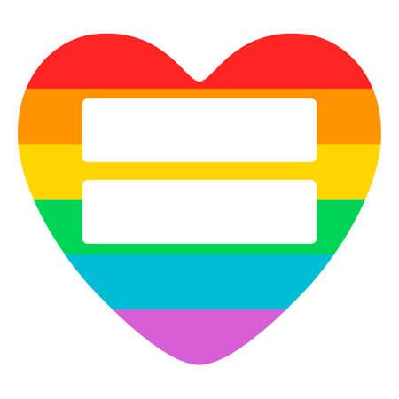 LGBT 지원 기호로 개념 포스터입니다. 레인 보우 플랫 심장 흰색 배경에 고립 등 기호. LGBT 테마에 전념 한 포스터, 배너 및 지문을위한 타이포 그라피 디