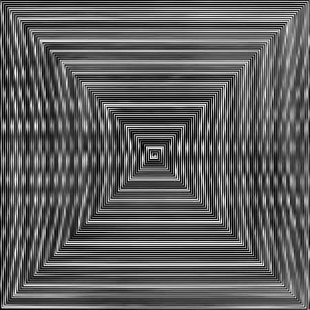 optical image: Abstract vector background. Hypnotic square spiral line with different width creates the image of geometric whirlpool. Optical illusion.
