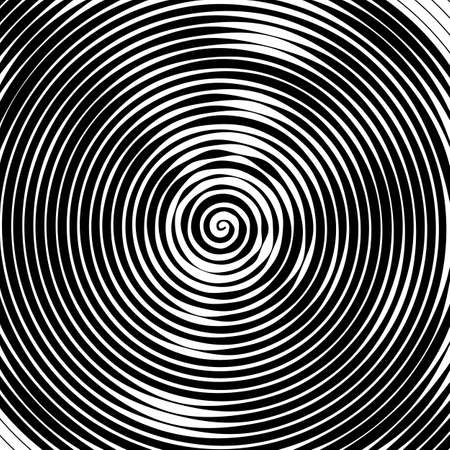 optical image: Abstract vector background. Hypnotic spiral line with different width creates the image of geometric whirlpool. Optical illusion.