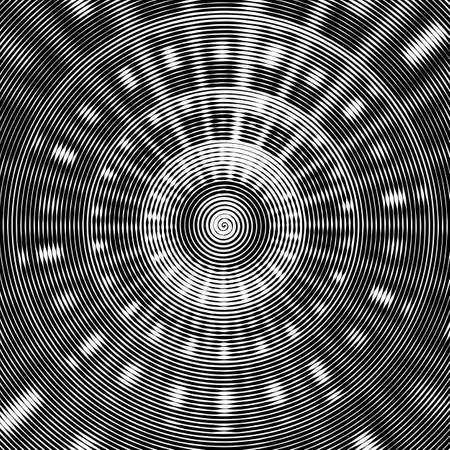 optical image: Abstract vector background. Hypnotic spiral line with different width creates the image of geometric ceiling of modern building. Optical illusion. Illustration