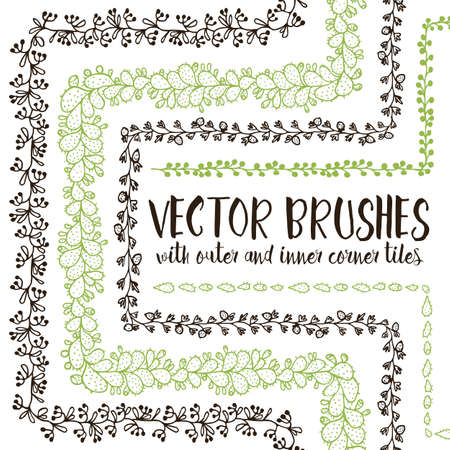 prickly fruit: Set of 5 hand drawn vector pattern brushes with inner and outer corner tiles. Editable decorative elements for your design. Perfect for frames, dividers, borders, ornaments. Handmade ink illustration