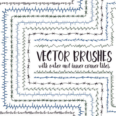 barbed wire frame: Set of 10 hand drawn vector pattern brushes with inner and outer corner tiles. Editable decorative elements for your design. Perfect for frames, dividers, borders, ornaments. Handmade ink illustration