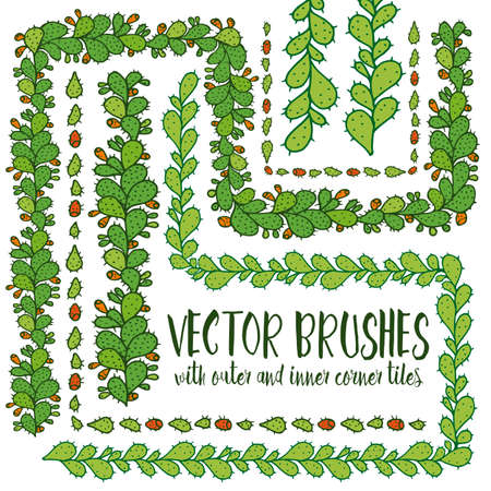 prickly: Set of hand drawn vector pattern brushes with inner and outer corner tiles. Colored green branches of cactus opuntia ficus-indica with orange fruit. Perfect for frames, dividers, borders, ornaments Illustration