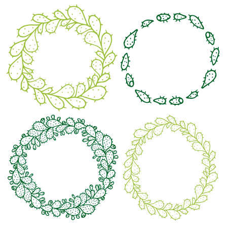 prickly fruit: Set of 4 decorative circle frames. Ornate round wreaths for use as a decorative element, for logo or emblem. These pattern brush you can find in my portfolio Illustration