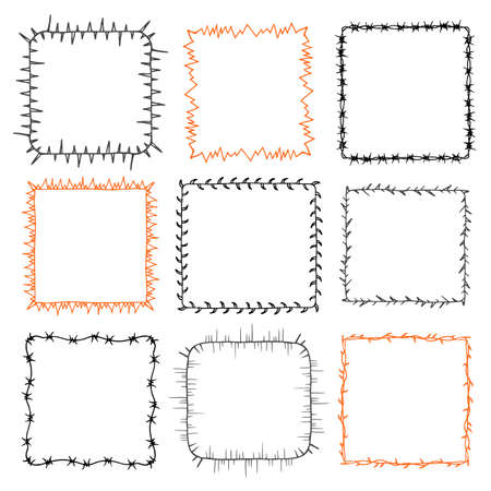 prickle: Set of 9 decorative square frames. Ornate square wreaths for use as a decorative element, for logo or emblem. These pattern brush you can find in my portfolio Illustration